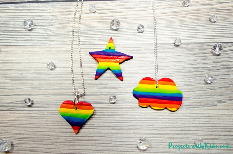 Rainbow Polymer Clay Pendants