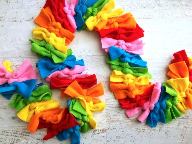 Tied Fleece Rainbow Scarf