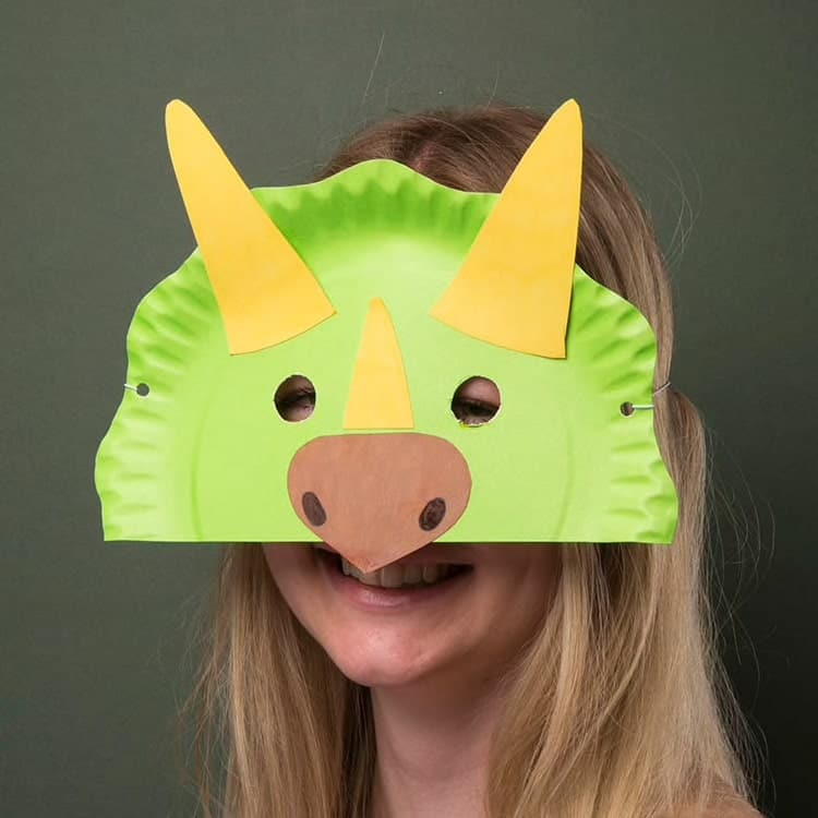 Paper Dinosaur Party Mask