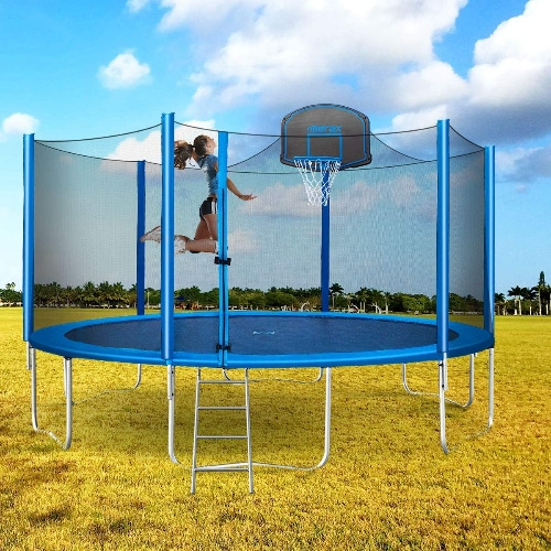 "15"" Enclosed Trampoline with Basketball Hoop"